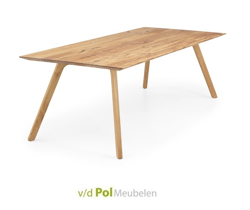 Eiken tafel verjongd schuine poot 140 - 300 cm