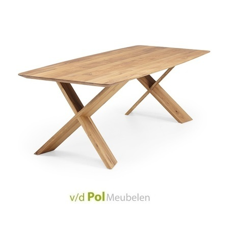 Tafel-air-blad-rond-bootvorm-kruispoot-hout-eikenhout