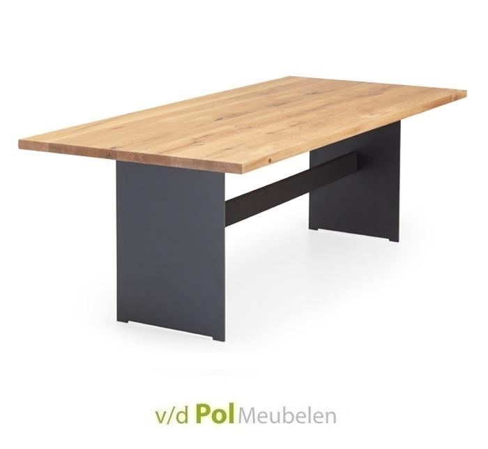 Tafel recht blad staalwang met balk 140 - 300 cm