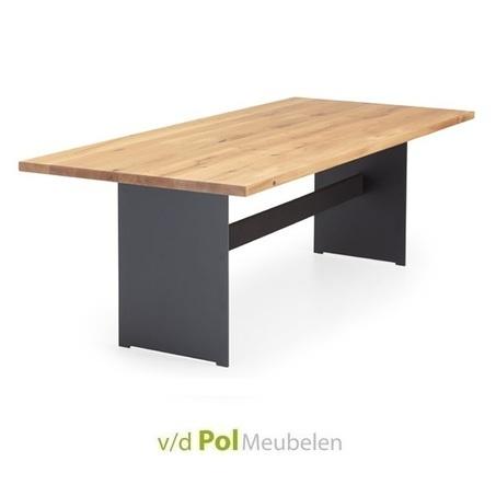 tafel-recht-blad-staalwang-met-balk-nouvion-eikenhout-eiken