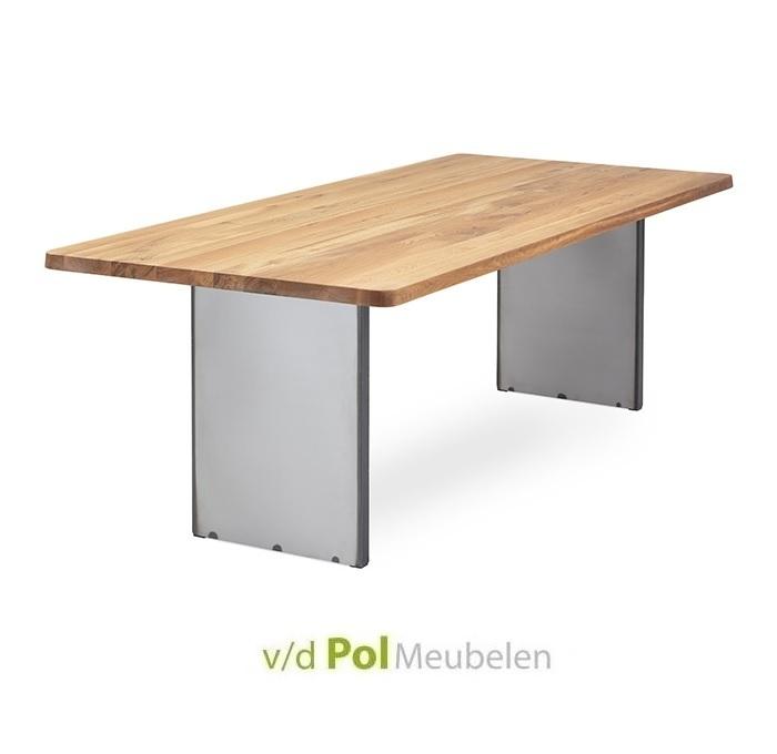 Tafel recht blad ronde hoek staalwang 140 - 300 cm