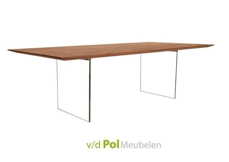Glazen Eettafel 160 X 90.Notenhouten Tafel 160 Cm Verjongd Blad Glas Poot