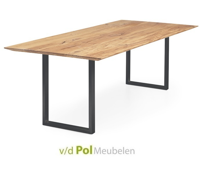 Tafel verjongd U-poot smal zwart 140 - 300 cm