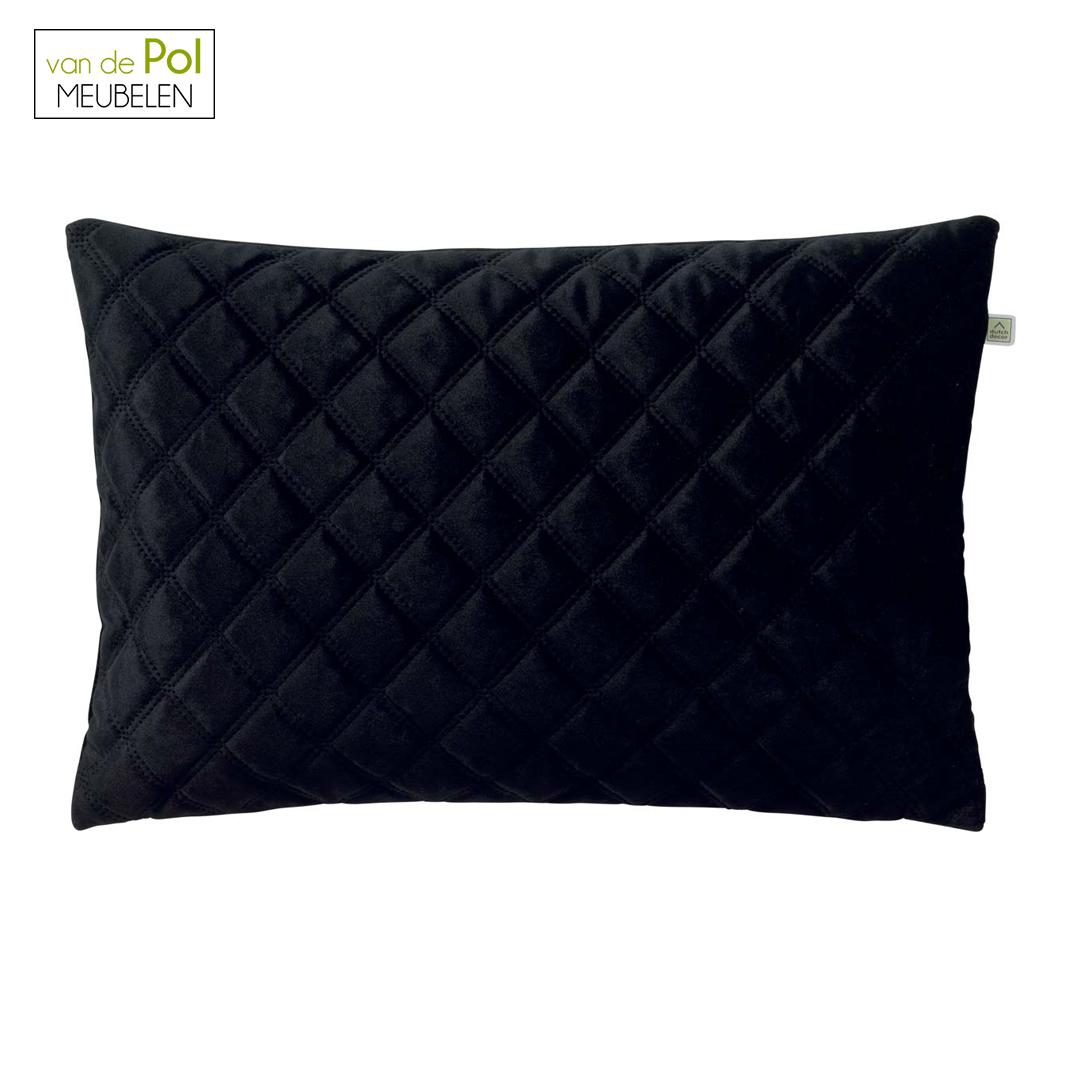 Geruit kussenhoes Niels 60x40 cm zwart