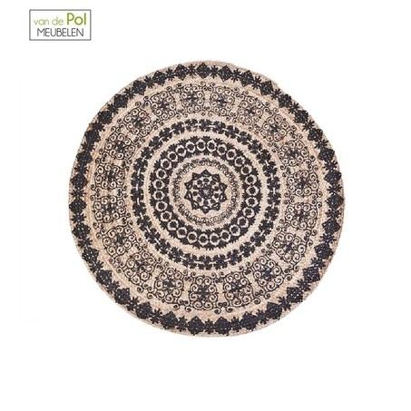 carpet-himalaya-120-cm-rond-vloerkleed-motief-hip-zwart-wit-byboo