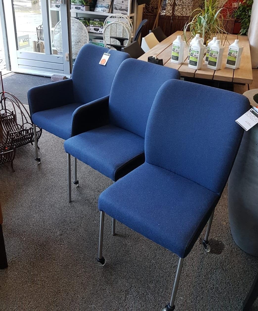 set 3 x stoel petrol Rvs design