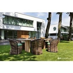 Wicker dining tuinset Cocoon van Applebee voor 6 personen met teakhouten tuintafel