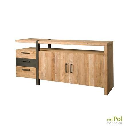 lucca is een stoere industriele sidetable van hout met lades