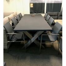Tuinset RVS X-poot Applebee +8x stoel resort