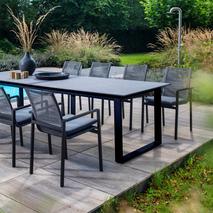 Stapelbare aluminium tuinstoel Ishi Yoi zwart grijs