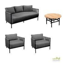YOI Umi loungeset 4-delig dark grey zwart