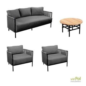 Loungeset Umi 4-delig dark grey / zwart