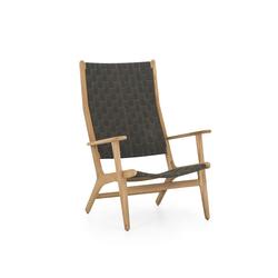 applebee loungestoel luc met hoge rug in grijs en teakhouten frame