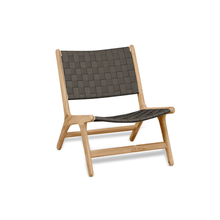 apple bee luc loungestoel lage rug scandinavisch ontwerp in teak en grijs