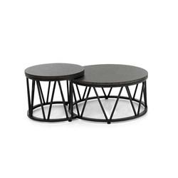 Applebee Menton luxe set ronde salontafels zwart