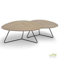Set Twinny salontafels - eiken hoog en laag