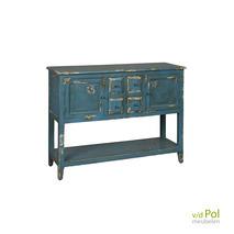 Blauw industrieel dressoir met deuren