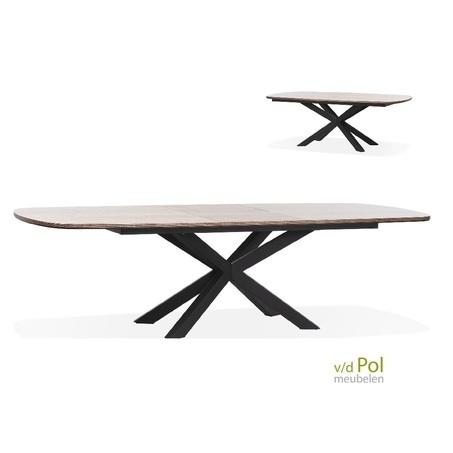 uitschuifbare-eettafel-ovaal-premium-zwarte-kruispoot-hout-look