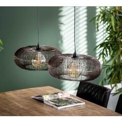 hanglamp-koperdraad-modern-twist-disk-twee-lampen-tafel
