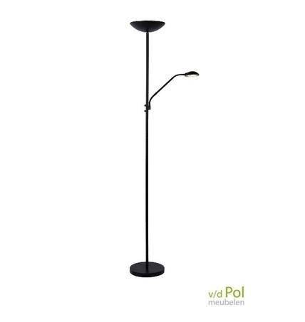 vloerlamp-zwart-met-leeslamp-uplighter-draaibaar-kantelbaar