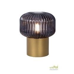 tafellamp-geribbeld-glas-gerookt- gouden-voet-messing