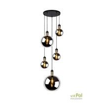 Hanglamp 5 glazen bollen