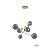 Hanglamp 6 bollen mat goud