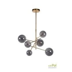 hanglamp-6-bollen-mat-goud-glas-gerookt