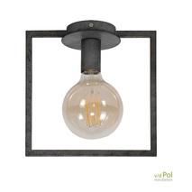Plafondlamp industrieel zwart vierkant