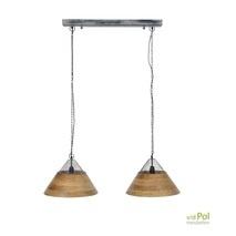 Hanglamp mangohout gaas