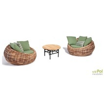 Applebee Cocoon ronde loungeset wicker