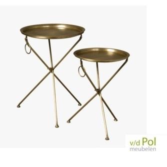 set-bijzettafels-tray-brass-brons-hendel-rond