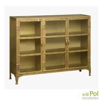 dressoir goud renew km18790 met glazen deurtjes als lage vitrinekast