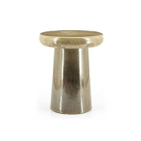 keramiek bijzettafeltje in rond model met tafelblad en taupe kleur, genaamd glaze van by-boo, ean 8719743438262