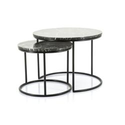 Set van ronde zwart marmeren salontafels Romeo van By Boo met klein en groot model