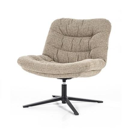 draaibare fauteuil zonder leuning danica van eleonora bekleed met beige stof
