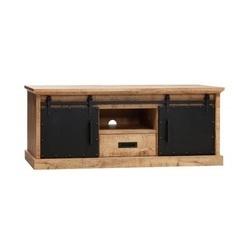 industrieel tv meubel metalen schuifdeuren lamulux mangohout 160 cm