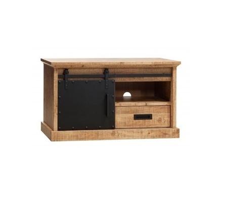 stoere tv kast lamulux metalen schuifdeur houtlook industry