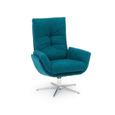 Moderne relaxfauteuil Hjort Knudsen 1441 is draaibaar, blauwe stof