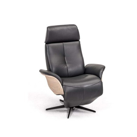 Hjort Knudsen 7600 relaxfauteuil in zwart leer, ook in stof mogelijk