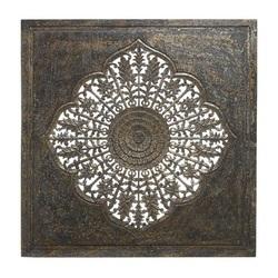 Vierkant houten wandpaneel PTMD Selma Gold 120cm gegraveerd 692797