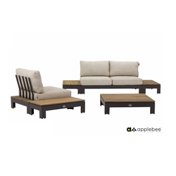 loungeset Sticks and More Applebee tuinbank fauteuil salontafel teakhout